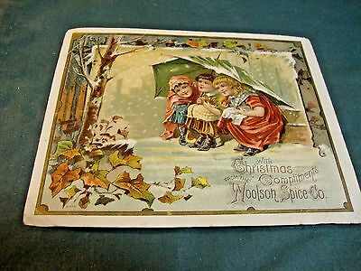 Victorian Trade Card Christmas Greeting For Woolson Spice Advertising Lion Coffe