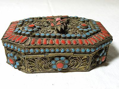 Azz117 Antique Tibet Nepal Coral And Turquoise Gau Prayer Box, Red Deity
