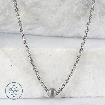"Sterling Silver | ITALY 3mm Twisted Singapore Chain Bead 4.3g | Necklace (20"")"