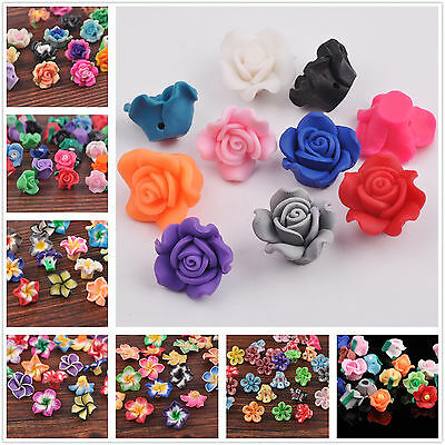 10pcs Mixed Polymer Fimo Clay Rose & Lily Flower Spacer Loose Beads Wholesale