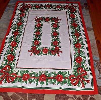 Vintage poinsettia Christmas rectangle cotton tablecloth 4 ft by 68 in