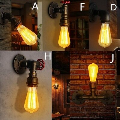 E27 Vintage Industrial Retro Iron Wall Lamp Sconce Light Fixture w/ Light Bulb