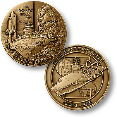U.S. Navy USS Enterprise CVN 65 coin 1st nuclear-powered aircraft carrier Big E