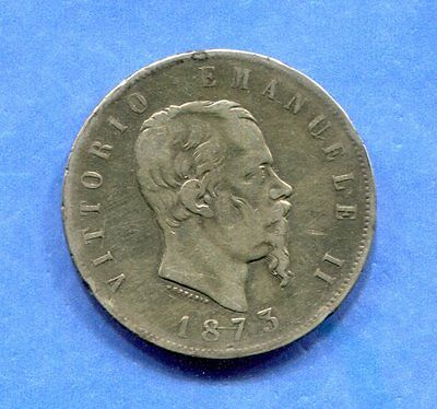 1873-M Italy 5 Lire Circulated KM-8.3