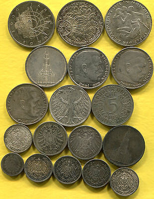 1876-2000 Germany Silver Coins Lot - 18 Different