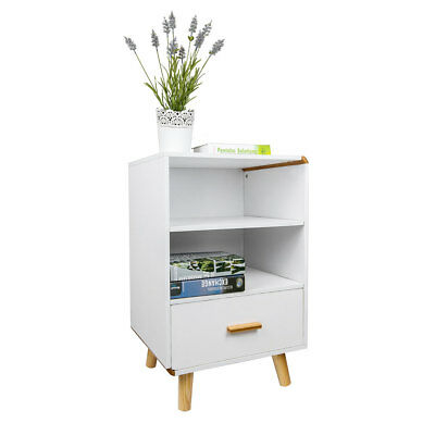 White Bedside With 1 Drawer Wood Cabinet Side Table 4 Foots Nightstand Storage
