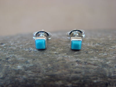 Native American Sterling Silver Turquoise Square Dot Post Earrings! Handmade!