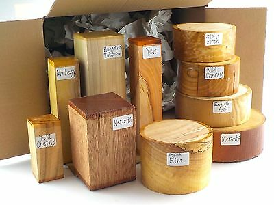 Woodturning bowl blanks gift selection box.  Mixed sizes and species