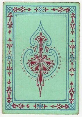 Playing Cards Single Swap Antique GOODALL Wide Square Corner GEOMETRIC RED GREEN