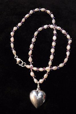 Sterling silver heart pendant on freshwater pearl and amethyst necklace new
