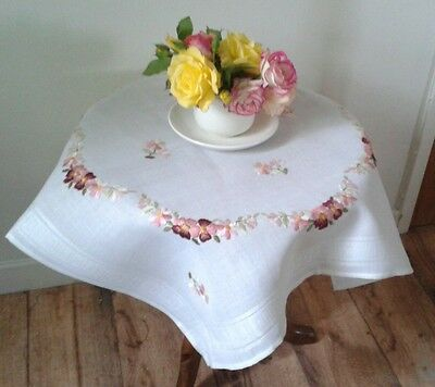 pretty vintage hand embroidered flowers small ish Tablecloth