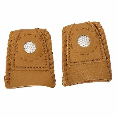 2pcs Leather Thimbles - Finger Sewing Grip Shield Protector For Craftwork DIY