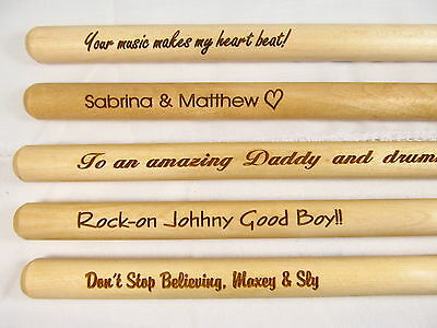 Custom Personalized Engraved 1 Pair 5A Drumsticks Wood Tips Drum Accessories