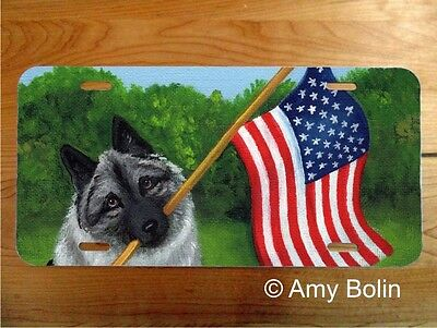 NORWEGIAN ELKHOUND  aluminum LICENSE PLATE Amy Bolin PROUD TO BE AMERICAN