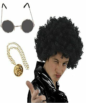 Mens 70S Kit Wig Moustache And Medallion Necklace Afro Hippy Fancy Glasses Hen