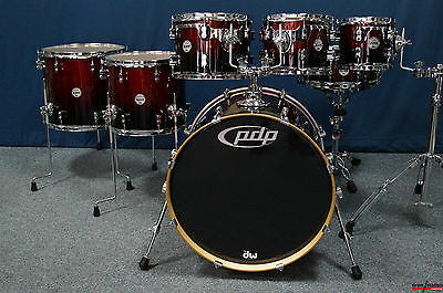 """PDP Concept Maple CM7 Sellset  """"Red to Black Sparkle Fade""""  22,8,10,12,14,16""""+SD"""