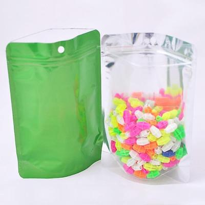 Ziplock Grip Seal Bags Stand Up Pouch Clear Front Green Back - 14x20CM