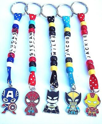 Personalised Keyring / Bag Tag Super Hero Style Charm School Bag Party Gift