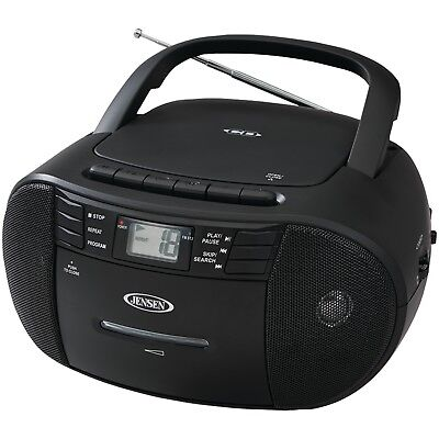 JENSEN(R) CD-545 Portable Stereo CD Player with Cassette Recorder & AM/FM Radio