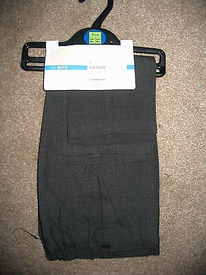 2 Pack boys Grey School Trousers From M&S Flat Front Age 3 Year BNWT - PULL ON