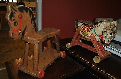 Fisher Price Riding Horse Deal 2 Vintage Pull Push Toys # 765 Dobbin & Rare One