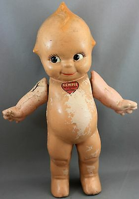 Vintage Composition Kewpie Doll-Moveable Arms/rosie O'Neil Heart/blue Wings  #3