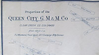 1890's Georgetown Colorado Queen City Gold Mining Co.Claim Map-Mines-Miners