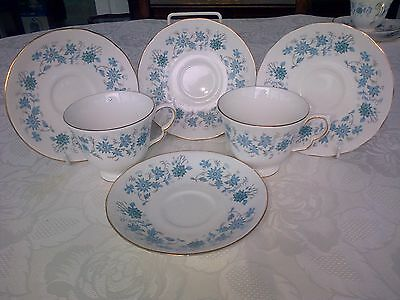 Vintage Colclough 2 Trios Cups, Saucers, Plates, Blue Flowers Ideal Wedding