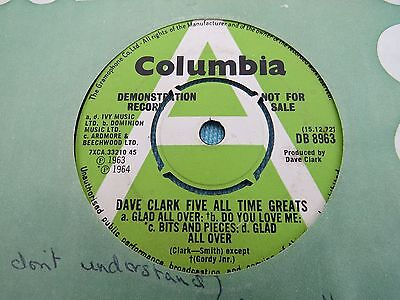 """Dave Clark Five - All Time Greats. 1965 Demo Uk Vinyl 7"""" . Columbia Db893"""