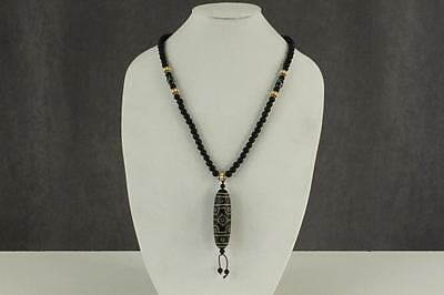 "VINTAGE Ethnic Jewelry Pottery Bead AFRICAN Necklace 26"" Tribal Pendant Bead"