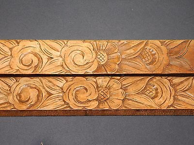 2 Frontons / Ornements/garnitures En Bois Sculpte De Fleurs  Long 87 Cm F359