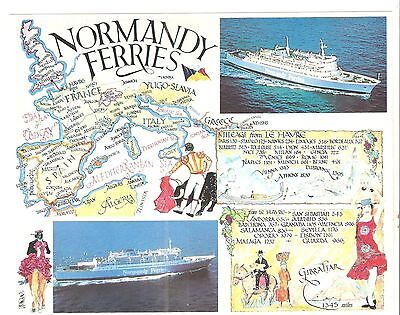 SHIPPING & MAP -NORMANDY FERRIES Southampton-Le Havre SUPERB FAGA POSTCARD