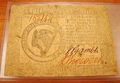 1778 September 26Th $8 Eight Dollar Cc-81 Continental Currency Note