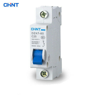 Genuine CHNT Circuit Breaker DZ47-60 AC230/400V 1P Model C Rated Current C10-C60