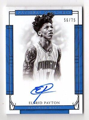 Elfrid Payton Nba 2016-17 Panini National Treasures Signatures #/75 (Magic)