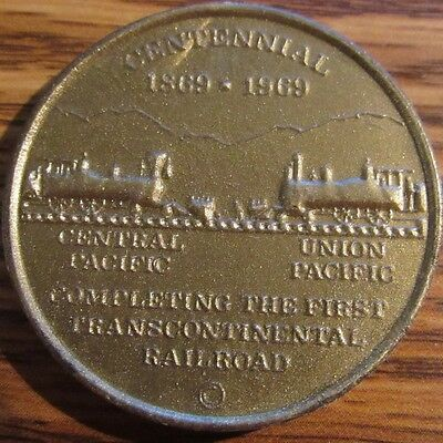 1969 Golden Spike Centennial Transcontinental Railroad Gold Plastic Token UTAH