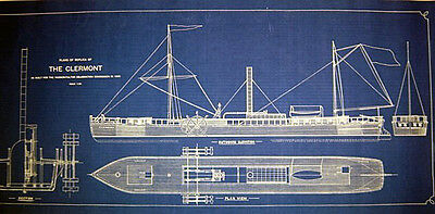 "Robert Fultons Steamboat ""Clermont"" 1807 Blueprint Plan 16x35  (234)"