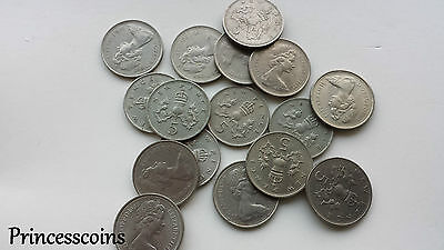 1968 To 1990 Large Old Elizabeth Ii Five Pence 5P-Choices Of Year