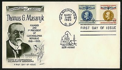 #1147 & 1148 T.G. Masaryk, Fleetwood FDC **ANY 4=FREE SHIPPING**