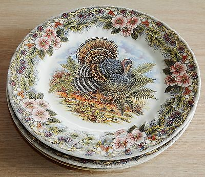 "Churchill Myott Thanksgiving 9 3/4"" DINNER PLATES  Turkey Bird UNUSED (5)"