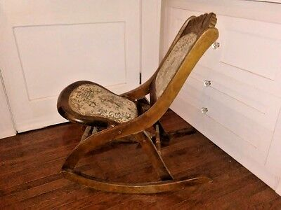 Vintage Carved Wood Folding Rocker Rocking Chair Tapestry Seat & Back