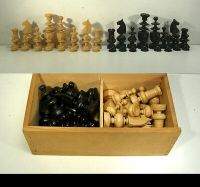 Vintage Chess Set from Turned and Carved Wood