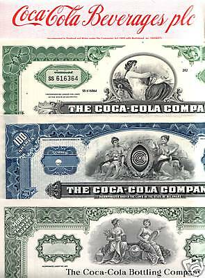 7 XXX-RARE COCA COLA STOCKS (FULL SIZE FULL COLOR REPRINTS) 5.35 Originals Avail