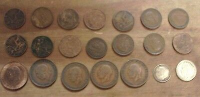 George V 5 x Half Penny Coins 14 x Farthing 1 x silver threepence 1 x sixpence