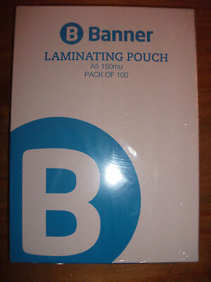 PACK 100 x A5 LAMINATING POUCHES - 150 MICRON THICKNESS - ONLY £4.98