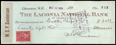 c093 U.S. R164 on Oct 1899 check, The Laconia National Bank, Gilman, NH