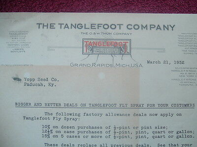 1932 Tanglefoot Insecticides/FLY Remedies,PRICES//Grand Rapids,Michigan,Letter!
