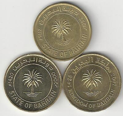 3 DIFFERENT 10 FILS COINS from BAHRAIN (1992, 2000 & 2007)