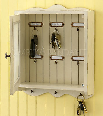 """Southport Key Hook Cabinet by Park Designs, 13.5"""" High with Screened Door, Cream"""