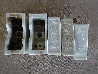 Vintage Porcelain Fuse Holders-Damaged-Decorative Use Only